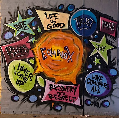Equinox Rocket to Recovery, service user, family and volunteer event, graffiti artist Alex McLelland
